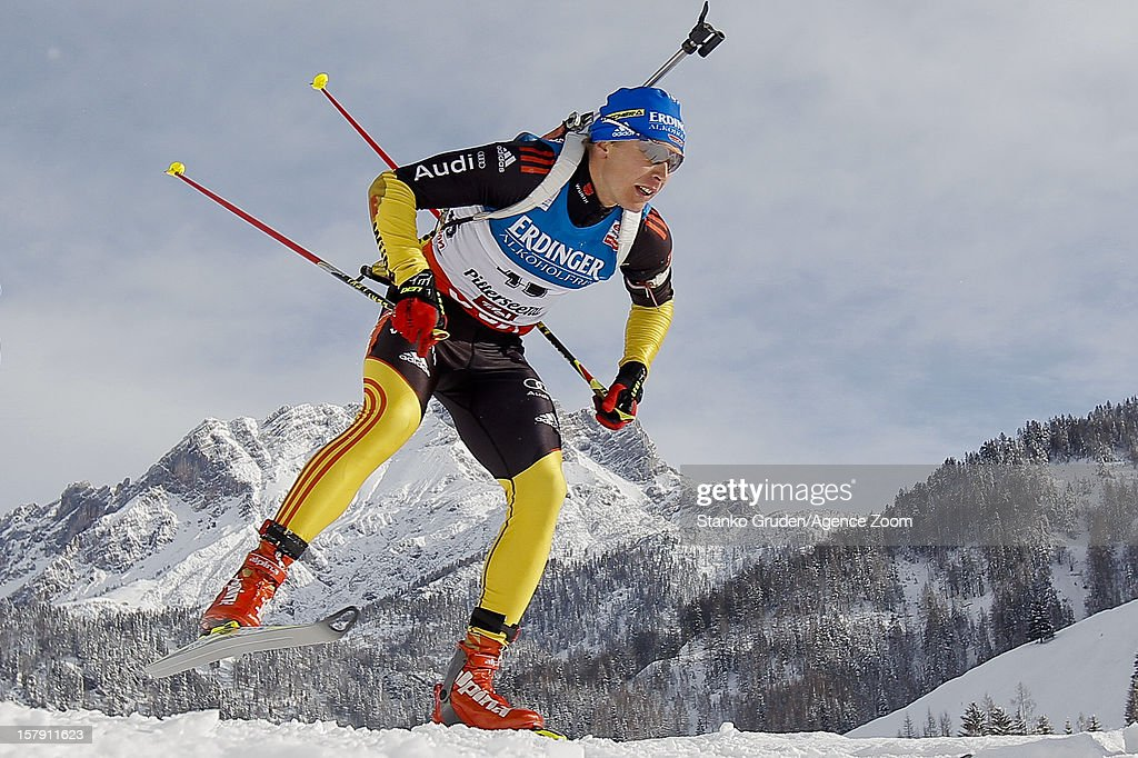 Andreas Birnbacher of Germany takes 1st place during the IBU Biathlon World Cup Men's Sprint on December 7 2012 in Hochfilzen Austria