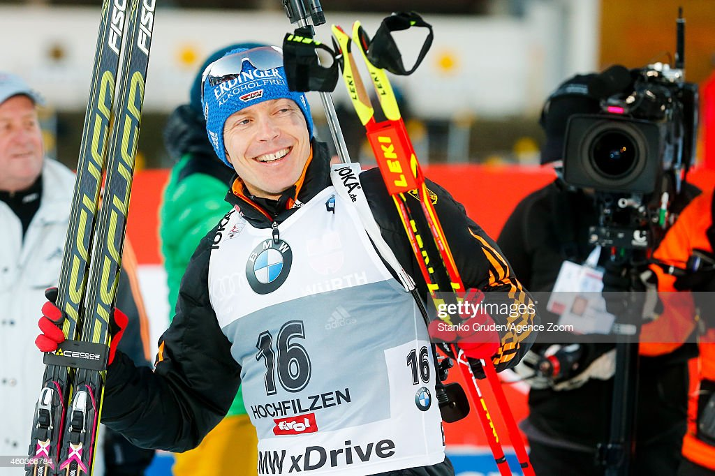 Andreas Birnbacher of Germany takes 3rd place during the IBU Biathlon World Cup Men's and Women's Sprint on December 12 2014 in Hochfilzen Austria