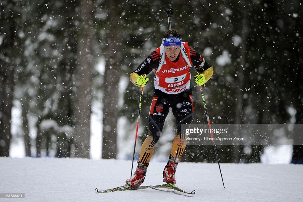 Andreas Birnbacher of Germany takes 3rd place during the IBU Biathlon World Cup Men's and Women's Relay on January 19 2014 in AntholzAnterselva Italy