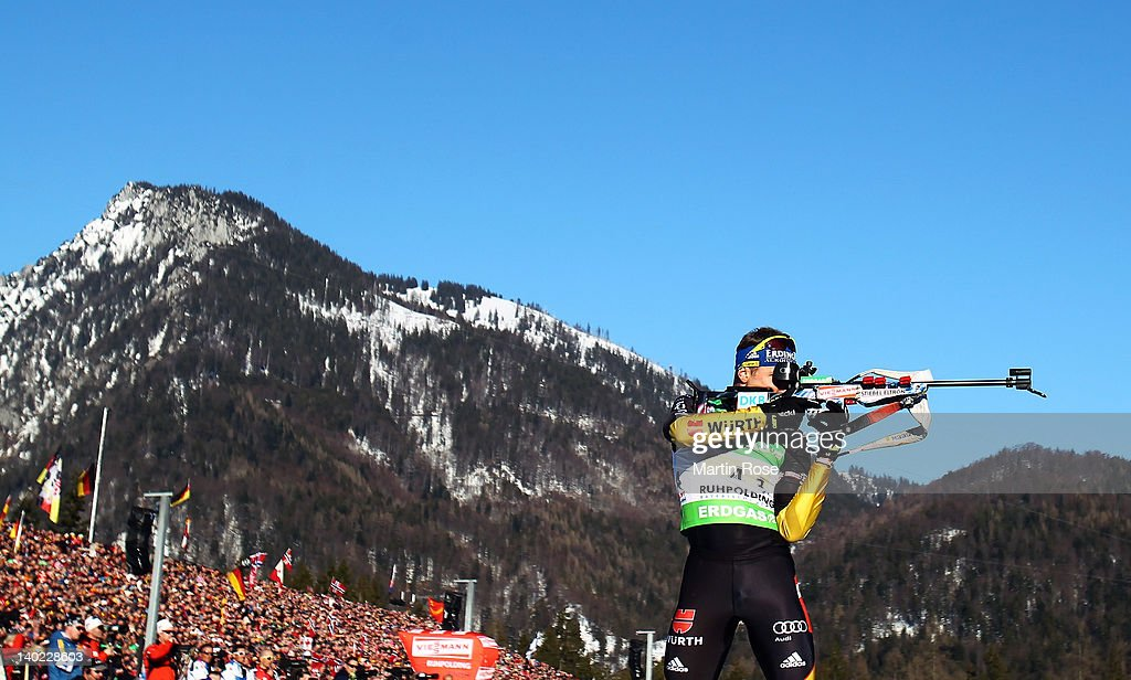<a gi-track='captionPersonalityLinkClicked' href=/galleries/search?phrase=Andreas+Birnbacher&family=editorial&specificpeople=2092383 ng-click='$event.stopPropagation()'>Andreas Birnbacher</a> of Germany to shoots during the IBU Biathlon World Championships Mixed Relay on March 1, 2012 in Ruhpolding, Germany.