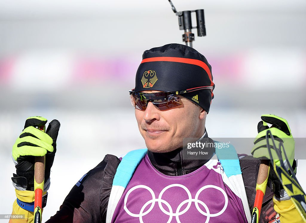 Andreas Birnbacher of Germany trains for the Men's Biathlon ahead of the Sochi 2014 Winter Olympics at the Laura CrossCountry Ski and Biathlon Center...