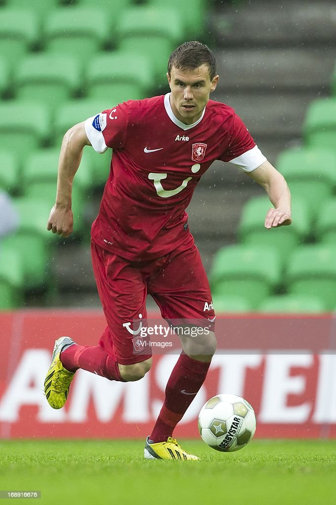 Andreas Bjelland of FC Twente during the Eredivisie Europa League Playoff match between FC Groningen and FC Twente on May 16, 2013 at the Euroborg stadium at Groningen, The Netherlands.