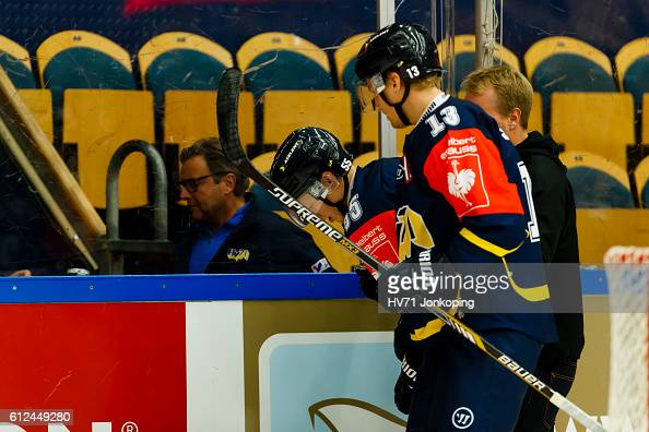 Andreas Borgman of HV71 Jonkoping leaves the match with an injury during the Champions Hockey League Round of 32 match between HV71 Jonkoping and...