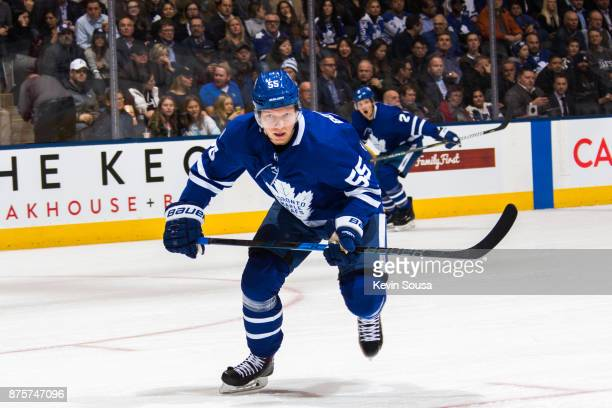 Andreas Borgman of the Toronto Maple Leafs skates against the New Jersey Devils during the first period at the Air Canada Centre on November 16 2017...