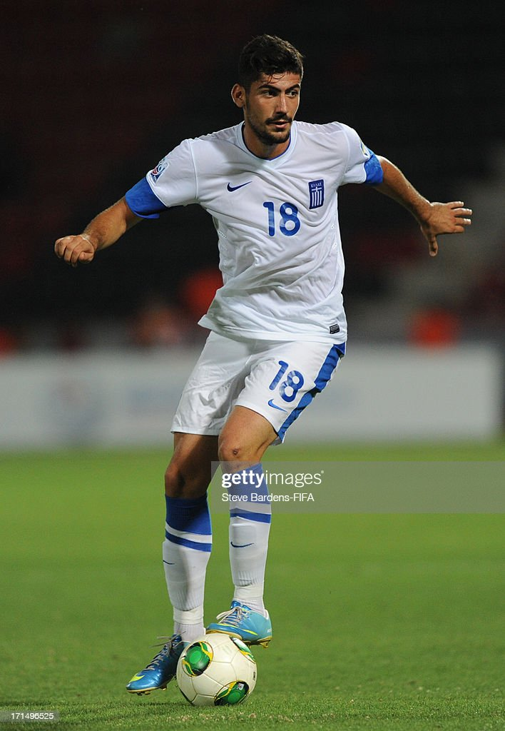 Andreas Bouchalakis of Greece runs with the ball during the FIFA U20 World Cup Group D match between Mali and Greece at Kamil Ocak Stadium on June 25, 2013 in Gaziantep, Turkey.