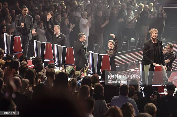 Andreas Bourani Michi Beck Smud Yvonne Catterfeld and Samu Haber attend the ''The Voice Of Germany' Finals' on December 18 2016 in Berlin Germany