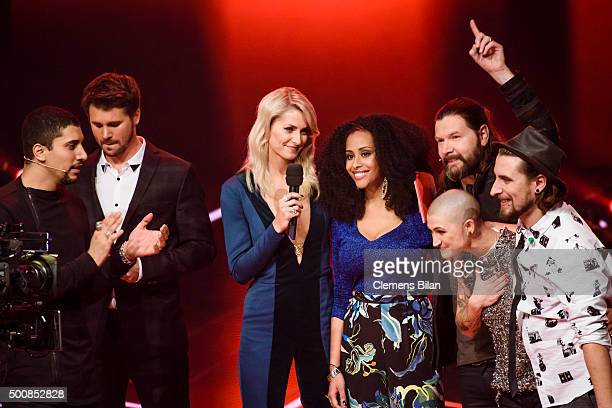 Andreas Bourani Thore Schoelermann Lena Gercke Mary Summer Rea Garvey Denise Beiler and Tobias Vorwerk attend the 'The Voice Of Germany Semi Final'...