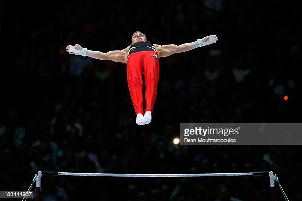 Andreas Bretschneider of Germany competes during the Horizontal Bar Final on Day Seven of the Artistic Gymnastics World Championships Belgium 2013...
