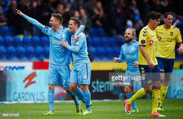 Andreas Bruhn and Alexander Fischer of Randers FC celebrate after scoring their first goal during the Danish Cup DBU Pokalen quarterfinal match...
