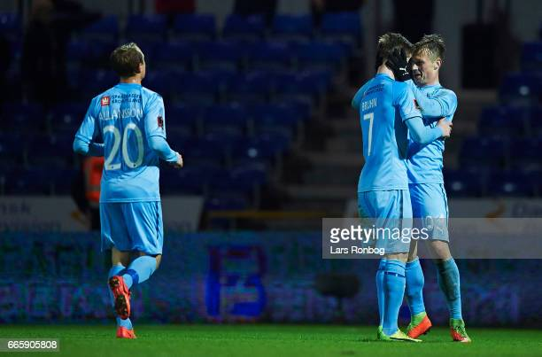 Andreas Bruhn and Marvin Pourie of Randers FC celebrate after scoring their second goal during the Danish Alka Superliga match between Randers FC and...