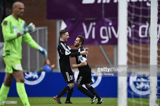 Andreas Bruhn of AaB Aalborg and Anders K Jacobsen of AaB Aalborg celebrate the 01 goal from Anders K Jacobsen during the Danish Alka Superliga match...
