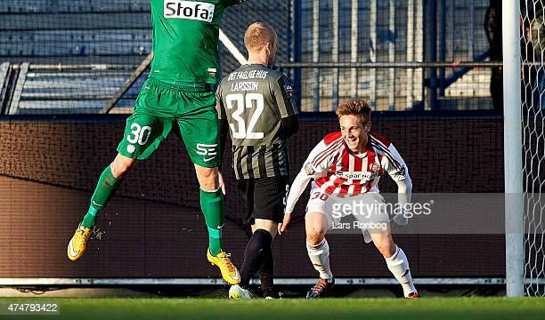Andreas Bruhn of AaB Aalborg celebrates the 10 goal against Goalkeeper Martin Dubravka of Esbjerg FB during the Danish Alka Superliga match between...