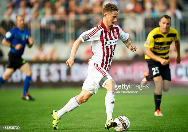 Andreas Bruhn of AaB Aalborg controls the ball during the Danish Alka Superliga match between Hobro IK and AaB Aalborg at DS Arena on July 24 2015 in...