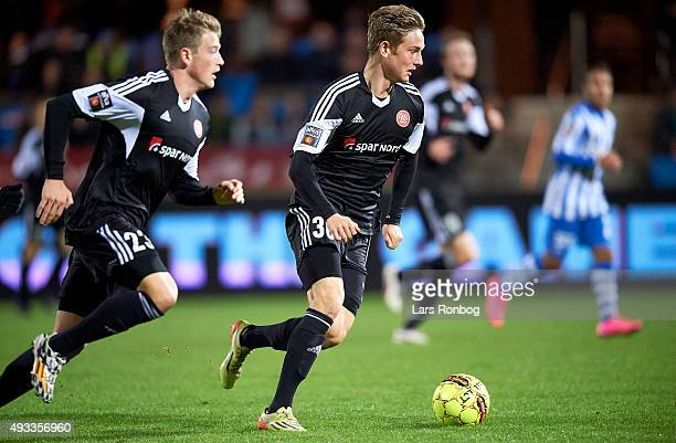 Andreas Bruhn of AaB Aalborg controls the ball during the Danish Alka Superliga match between Esbjerg fB and AaB Aalborg at Blue Water Arena on...