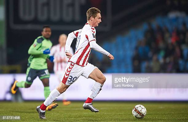 Andreas Bruhn of AaB Aalborg controls the ball during the Danish Alka Superliga match between AaB Aalborg and OB Odense at Nordjyske Arena on March 4...