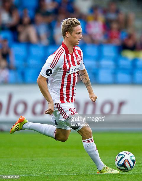 Andreas Bruhn of AaB Aalborg controls the ball during the Danish Superliga match between AaB Aalborg and FC Midtjylland at Nordjyske Arena on July 26...