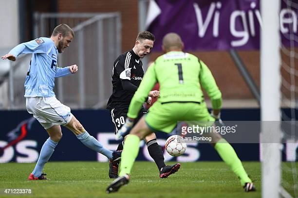 Andreas Bruhn of AaB Aalborg in action during the Danish Alka Superliga match between Sonderjyske and AaB Aalborg at Sydbank Park on April 26 2015 in...