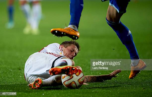 Andreas Bruhn of AaB Aalborg in action during the UEFA Europa League match between AaB Aalborg and Dynamo Kyiv at Nordjyske Arena on October 23 2014...