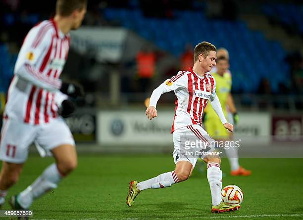 Andreas Bruhn of AaB Aalborg in action during the UEFA Europa Liga match between AaB Aalborg and Steaua Bukarest at Nordjyske Arena on November 27...