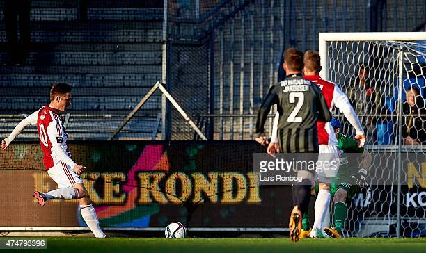 Andreas Bruhn of AaB Aalborg scores the 10 goal against Goalkeeper Martin Dubravka of Esbjerg FB during the Danish Alka Superliga match between AaB...
