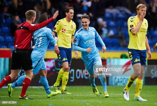 Andreas Bruhn of Randers FC celebrates after scoring their first goal during the Danish Cup DBU Pokalen quarterfinal match between Randers FC and...