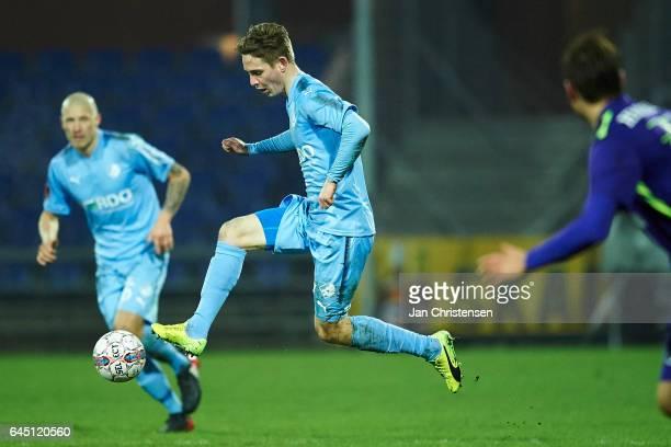 Andreas Bruhn of Randers FC controls the ball during the Danish Alka Superliga match between Randers FC and FC Midtjylland at BioNutria Park Randers...