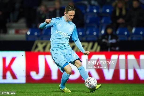 Andreas Bruhn of Randers FC controls the ball during the Danish Alka Superliga match between Randers FC and Esbjerg fB at BioNutria Park Randers on...
