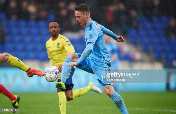 Andreas Bruhn of Randers FC controls the ball during the Danish Cup DBU Pokalen quarterfinal match between Randers FC and Brondby IF at BioNutria...