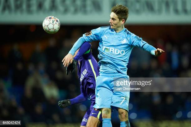 Andreas Bruhn of Randers FC heading the ball during the Danish Alka Superliga match between Randers FC and FC Midtjylland at BioNutria Park Randers...