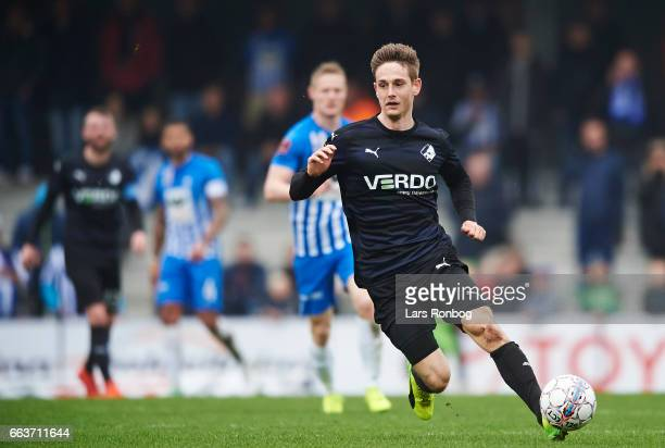 Andreas Bruhn of Randers FC in action during the Danish Alka Superliga match between Esbjerg fB and Randers FC at Blue Water Arena on April 2 2017 in...