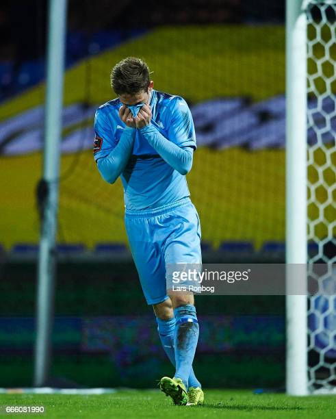 Andreas Bruhn of Randers FC shows frustration during the Danish Alka Superliga match between Randers FC and AC Horsens at BioNutria Park on April 7...