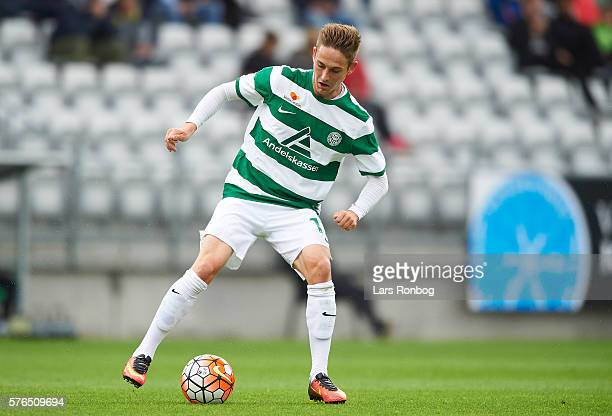 Andreas Bruhn of Viborg FF controls the ball during the Danish Alka Superliga match between Viborg FF and FC Nordsjalland at Energi Viborg Arena on...