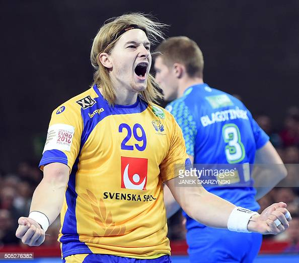 Andreas Cederholm of Sweden celebrates after scoring during the group C match Sweden vs Slovenia of the Men's EHF European Handball Championships...