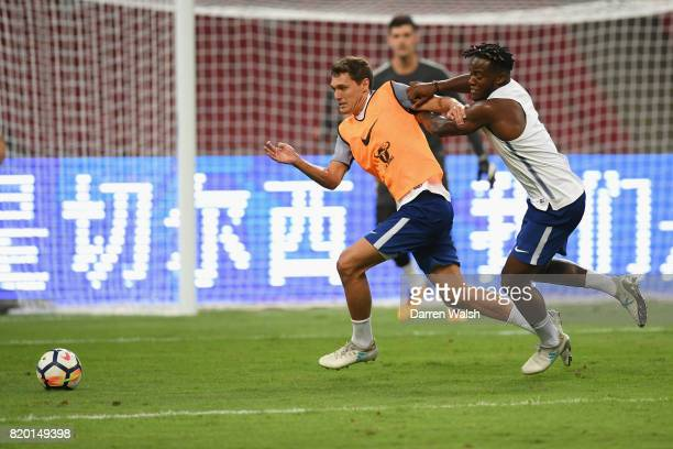 Andreas Christensen and Michy Batshuayi of Chelsea during a training session at the Birds Nest Stadium on July 21 2017 in Beijing