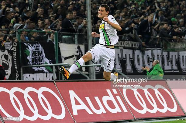Andreas Christensen of Borussia Moenchengladbach celebrates after his team's third goal during the Bundesliga match between Borussia Moenchengladbach...
