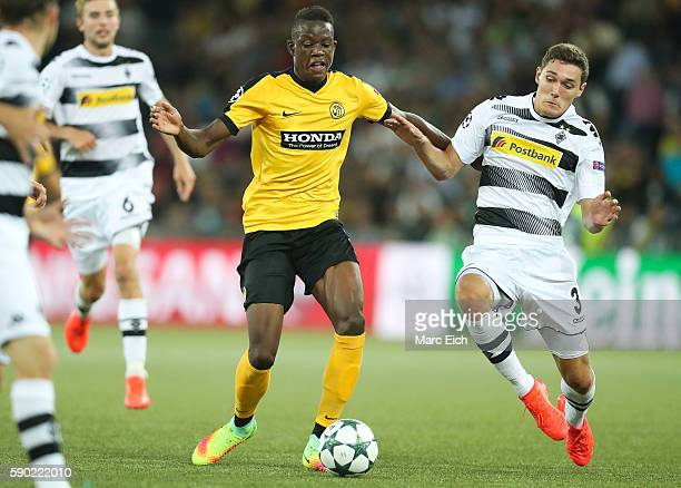 Andreas Christensen of Borussia Moenchengladbach challenges Denis Zakaria of Young Boys Bern during the Champions League Playoff match between Young...