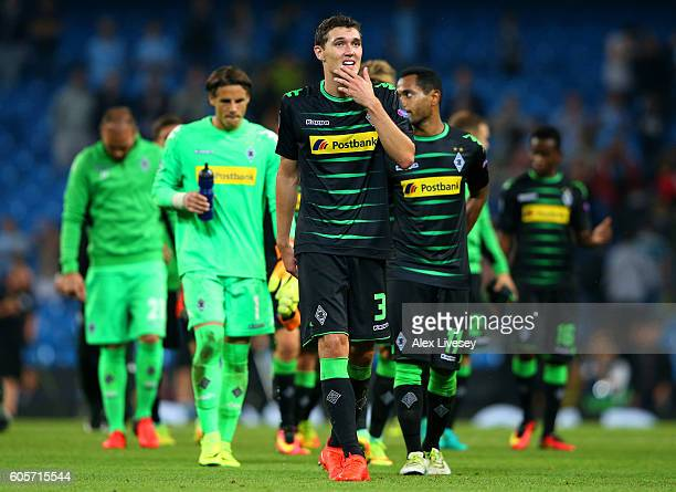 Andreas Christensen of Borussia Moenchengladbach looks dejected after the UEFA Champions League match between Manchester City FC and VfL Borussia...