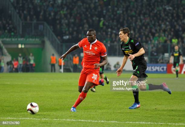 Andreas Christensen of Borussia Monchengladbach in action with Khouma Babacar of ACF Fiorentina during their UEFA Europa League round of 32 soccer...