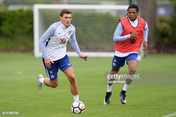 Andreas Christensen of Chelsea and Loic Remy of Chelsea in action during a training session at Chelsea Training Ground on July 12 2017 in Cobham...