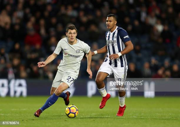Andreas Christensen of Chelsea and Salomon Rondon of West Bromwich Albion during the Premier League match between West Bromwich Albion and Chelsea at...