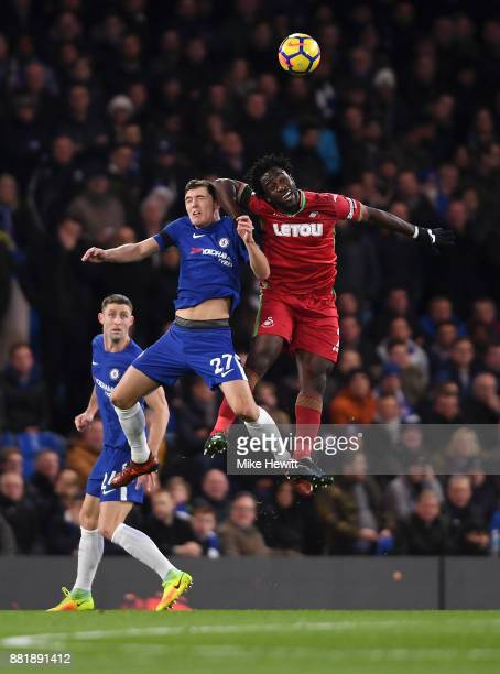 Andreas Christensen of Chelsea and Wilfried Bony of Swansea City battle to win a header during the Premier League match between Chelsea and Swansea...