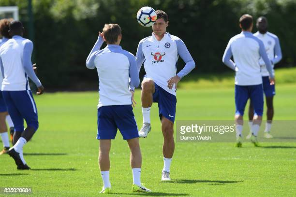 Andreas Christensen of Chelsea during a training session at Chelsea Training Ground on August 18 2017 in Cobham England