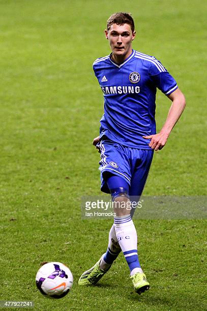 Andreas Christensen of Chelsea during the FA Youth Cup 6th round match between Newcastle United and Chelsea at St James Park on March 11 2014 in...