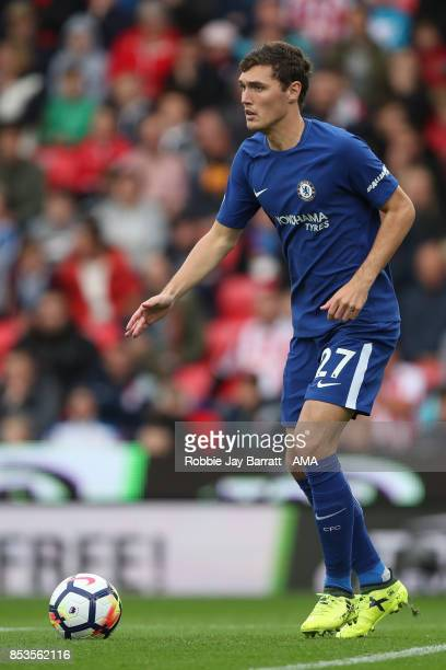 Andreas Christensen of Chelsea during the Premier League match between Stoke City and Chelsea at Bet365 Stadium on September 23 2017 in Stoke on...