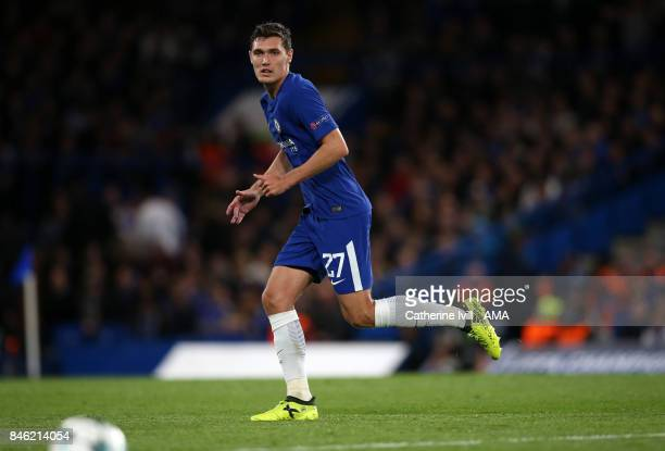 Andreas Christensen of Chelsea during the UEFA Champions League group C match between Chelsea FC and Qarabag FK at Stamford Bridge on September 12...
