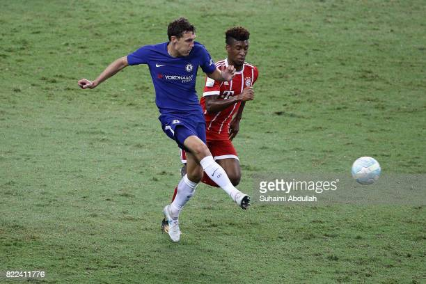 Andreas Christensen of Chelsea FC shoots past Kingsley Coman of FC Bayern Munich during the International Champions Cup match between Chelsea FC and...