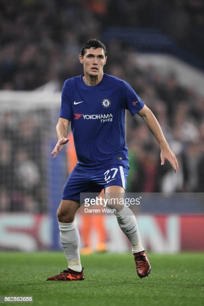 Andreas Christensen of Chelsea in action during the UEFA Champions League group C match between Chelsea FC and AS Roma at Stamford Bridge on October...