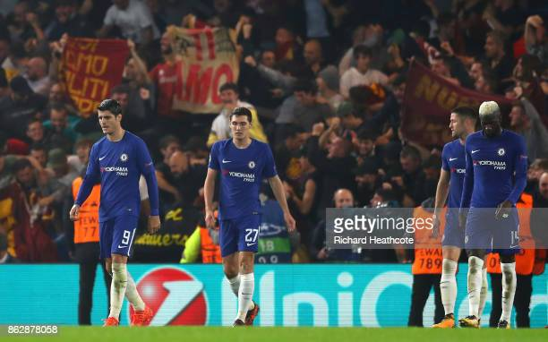 Andreas Christensen of Chelsea reacts during the UEFA Champions League group C match between Chelsea FC and AS Roma at Stamford Bridge on October 18...