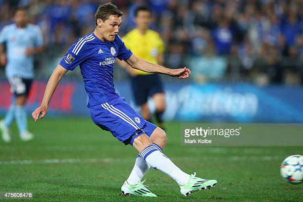 Andreas Christensen of Chelsea shoots at goal during the international friendly match between Sydney FC and Chelsea FC at ANZ Stadium on June 2 2015...