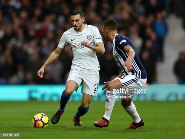 Andreas Christensen of Chelsea takes on Kieran Gibbs of West Bromwich Albion during the Premier League match between West Bromwich Albion and Chelsea...